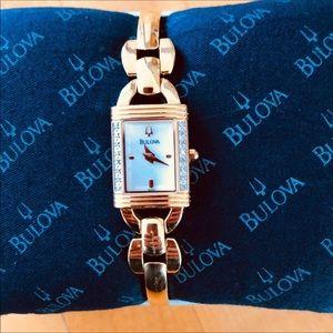 Bulova Gold & 16 Diamonds Bangle Watch NWT